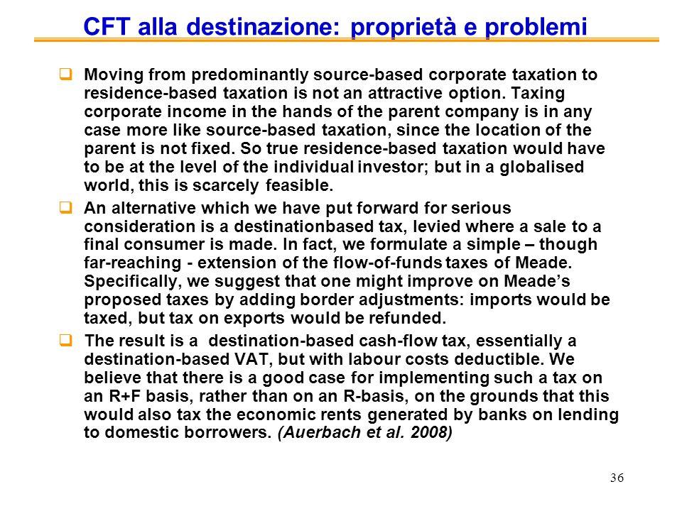 CFT alla destinazione: proprietà e problemi