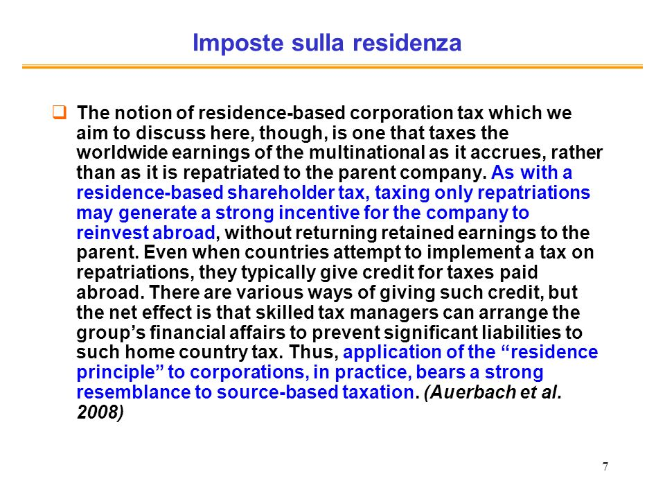 Imposte sulla residenza