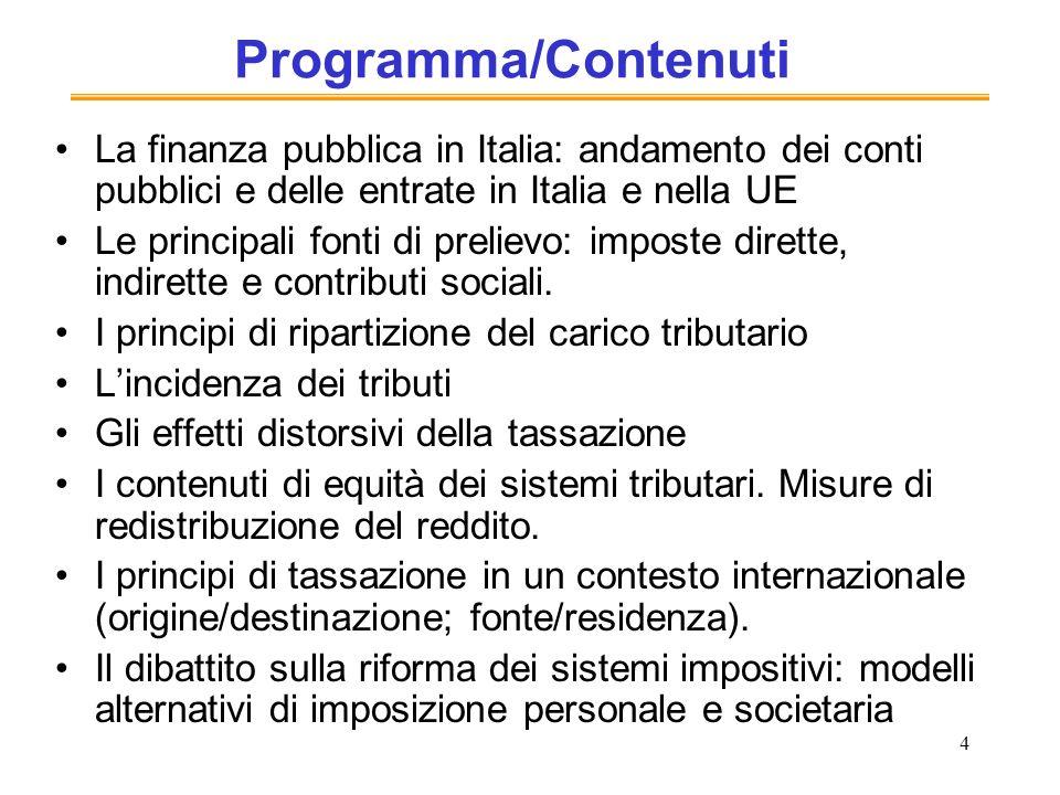 Programma/Contenuti La finanza pubblica in Italia: andamento dei conti pubblici e delle entrate in Italia e nella UE.