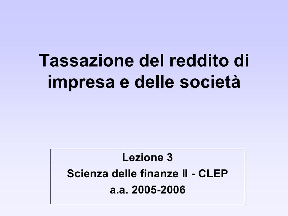 Tassazione del reddito di impresa e delle società