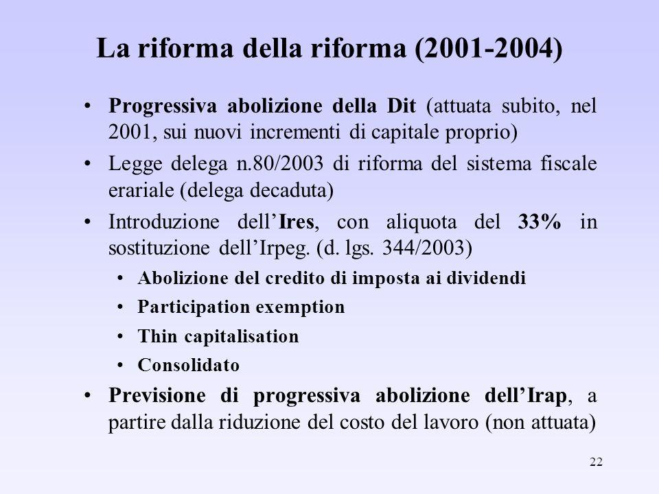 La riforma della riforma (2001-2004)