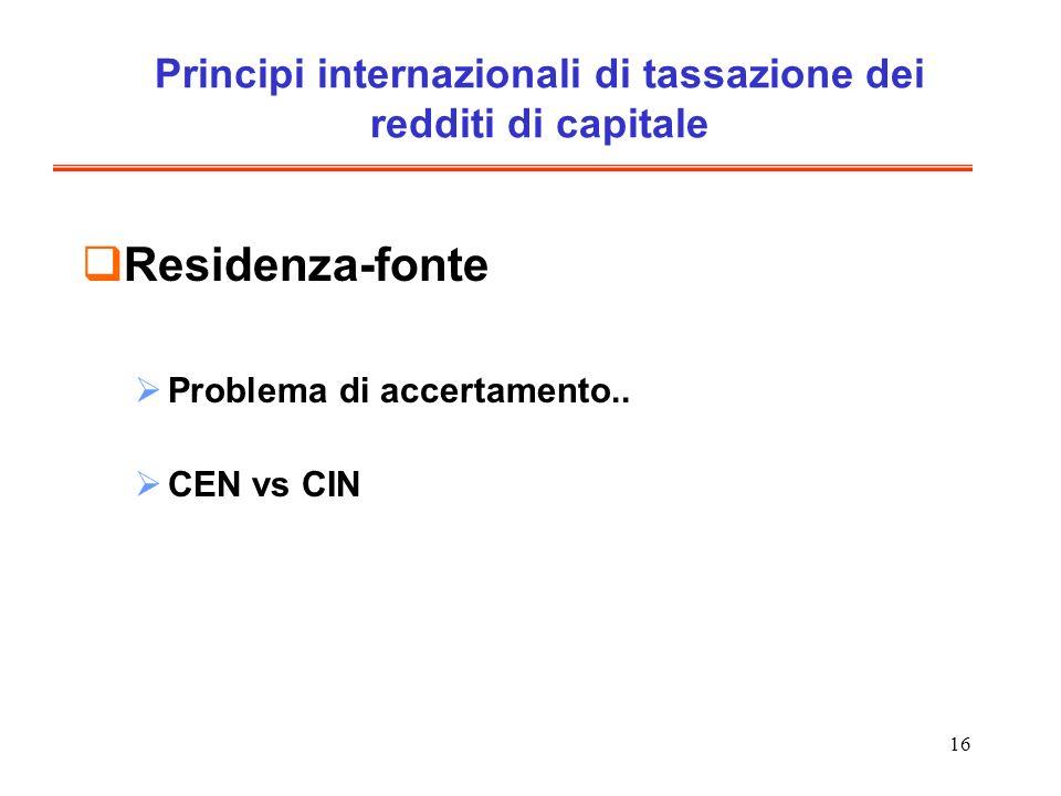 Principi internazionali di tassazione dei redditi di capitale