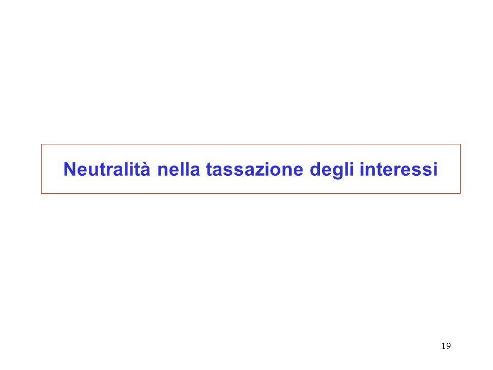 Neutralità nella tassazione degli interessi
