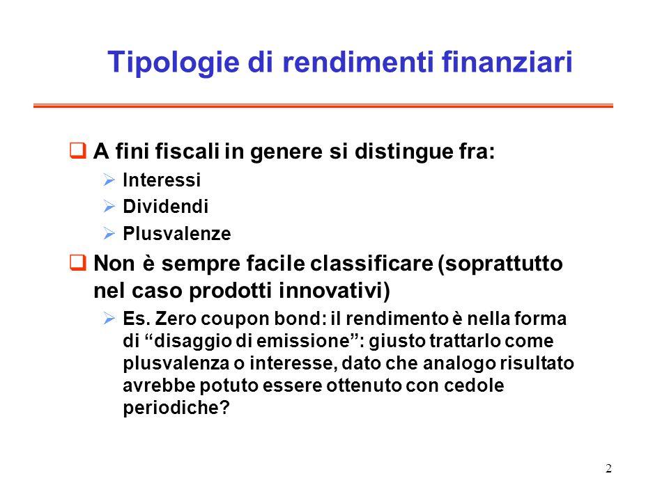 Tipologie di rendimenti finanziari