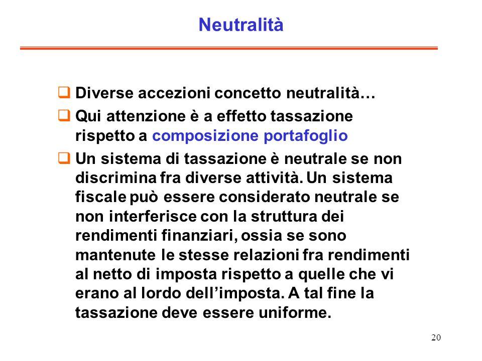 Neutralità Diverse accezioni concetto neutralità…
