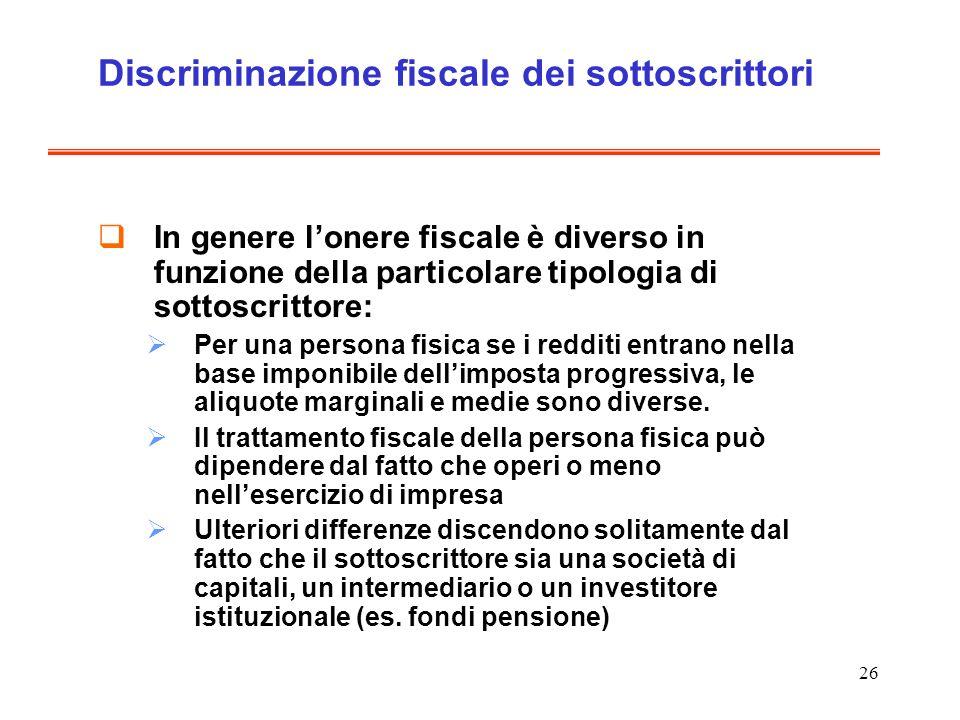 Discriminazione fiscale dei sottoscrittori