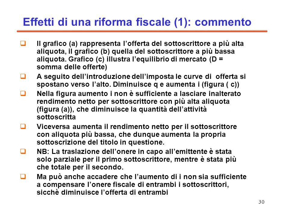 Effetti di una riforma fiscale (1): commento