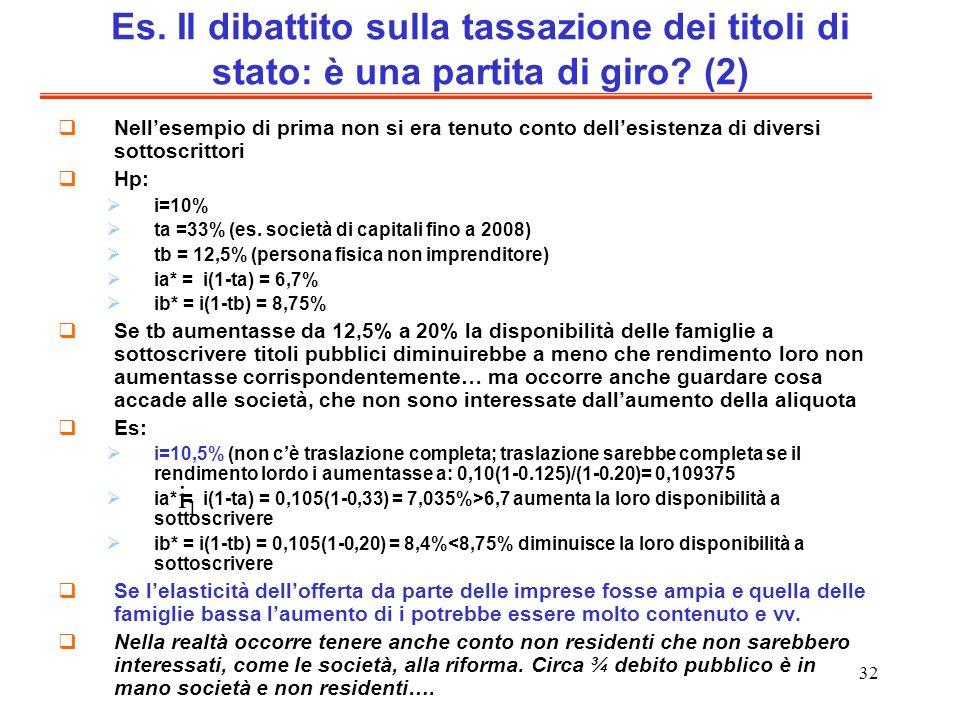 Es. Il dibattito sulla tassazione dei titoli di stato: è una partita di giro (2)