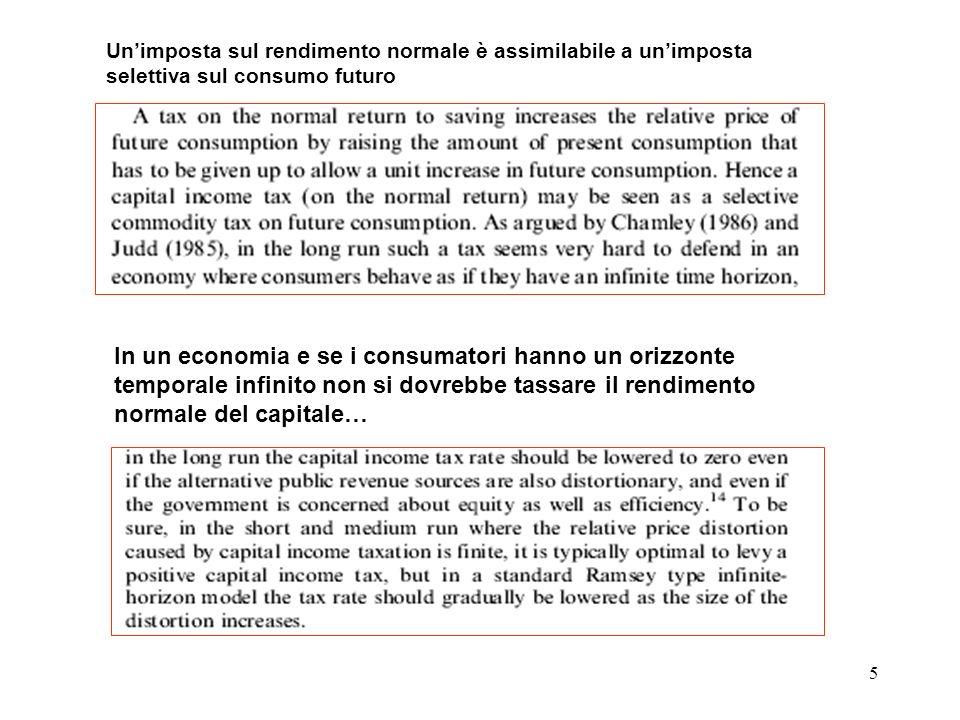 Un'imposta sul rendimento normale è assimilabile a un'imposta selettiva sul consumo futuro