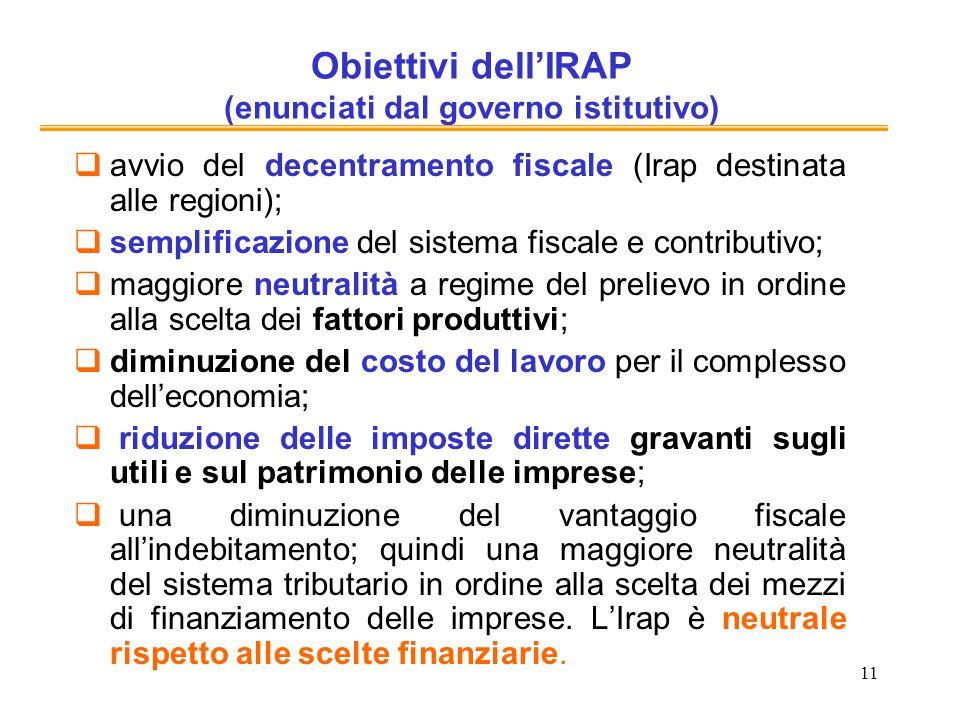 Obiettivi dell'IRAP (enunciati dal governo istitutivo)