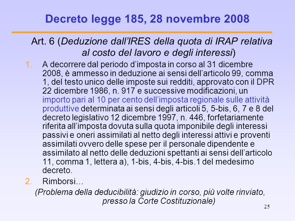 Decreto legge 185, 28 novembre 2008