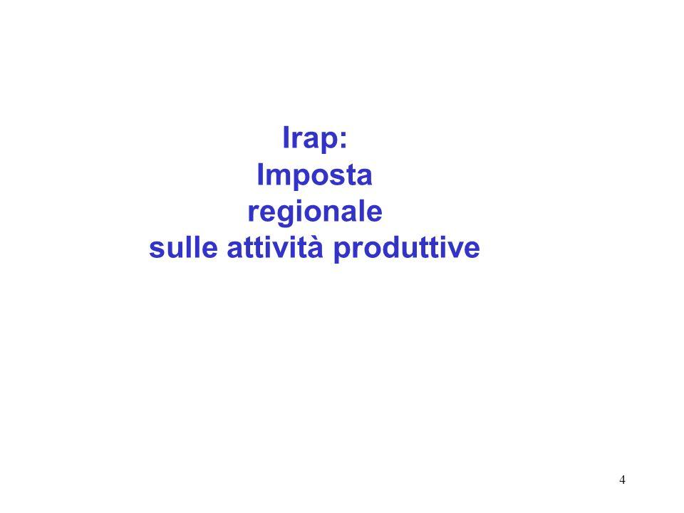Irap: Imposta regionale sulle attività produttive