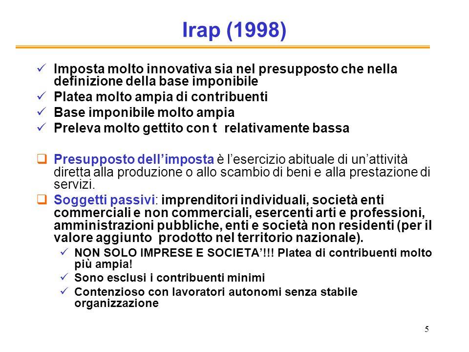Irap (1998) Imposta molto innovativa sia nel presupposto che nella definizione della base imponibile.