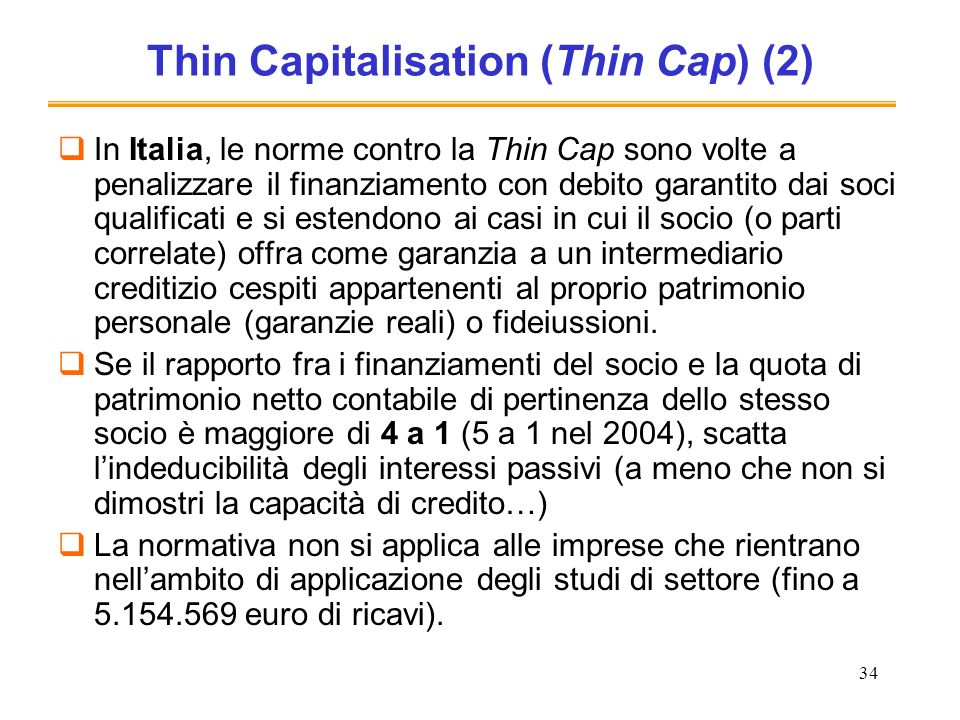 Thin Capitalisation (Thin Cap) (2)