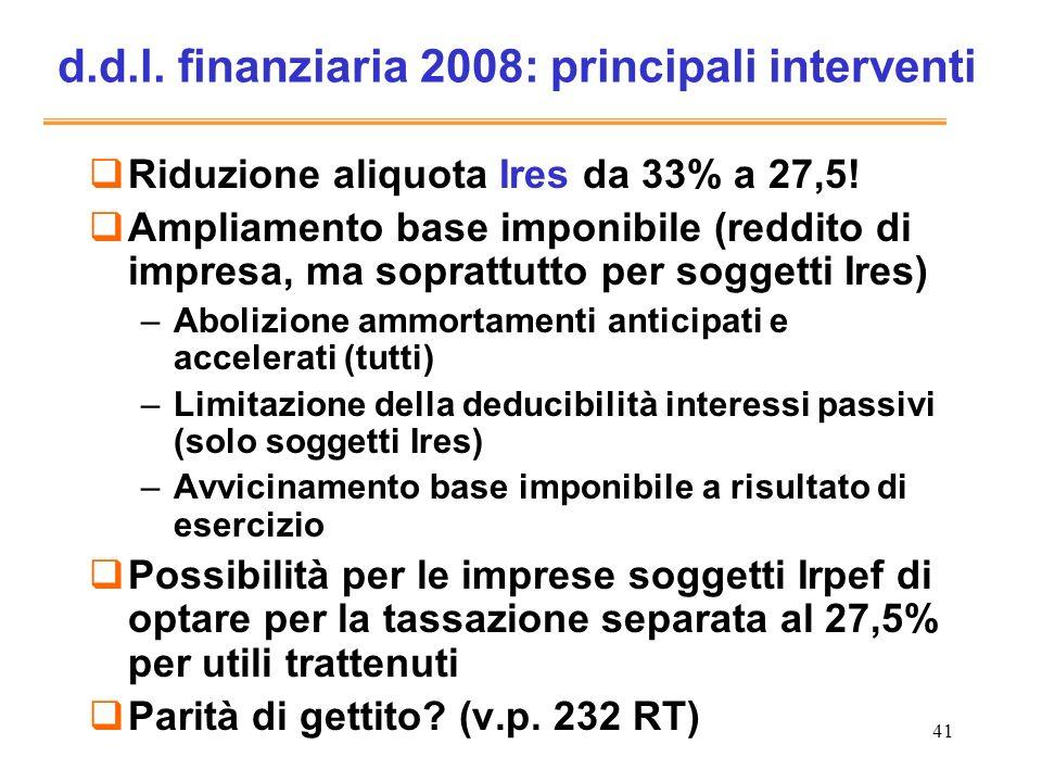 d.d.l. finanziaria 2008: principali interventi