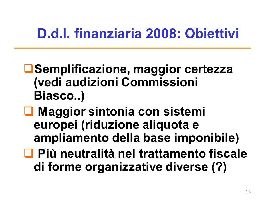 D.d.l. finanziaria 2008: Obiettivi