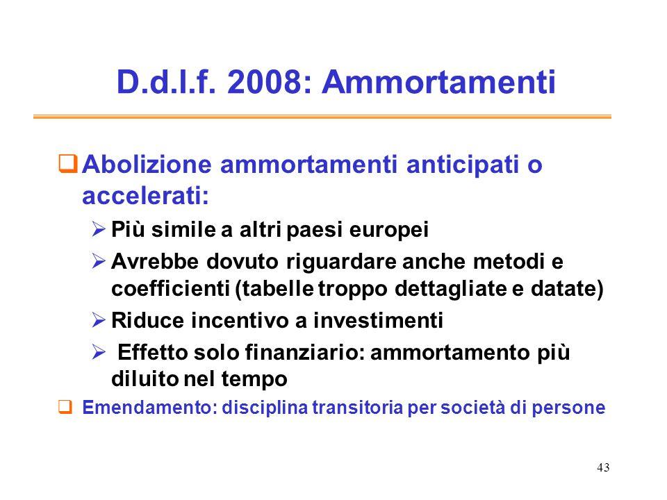D.d.l.f. 2008: AmmortamentiAbolizione ammortamenti anticipati o accelerati: Più simile a altri paesi europei.