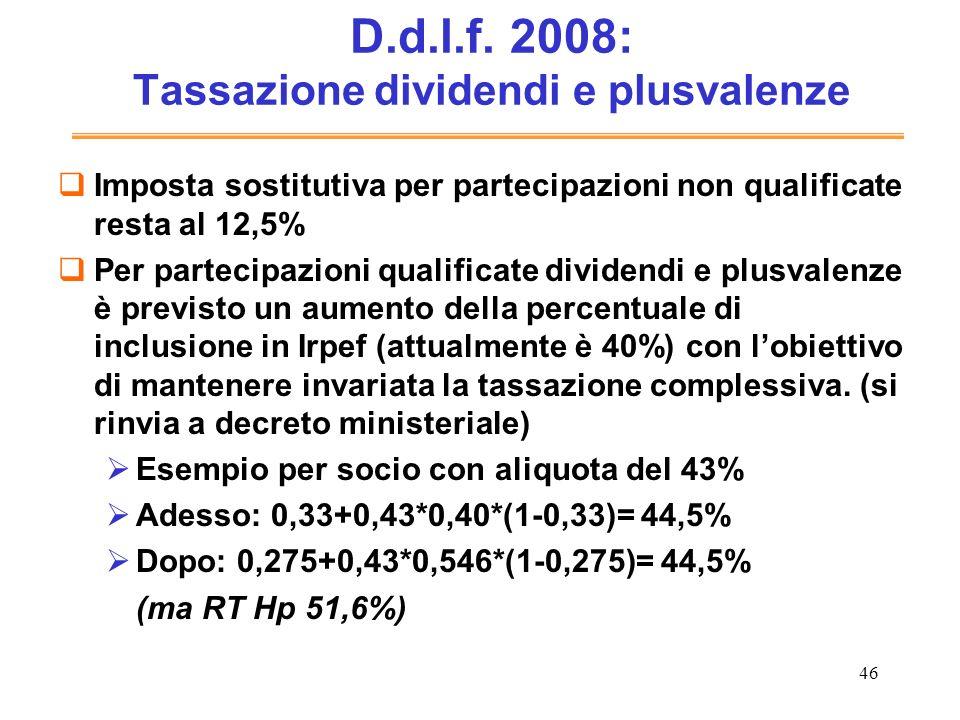 D.d.l.f. 2008: Tassazione dividendi e plusvalenze