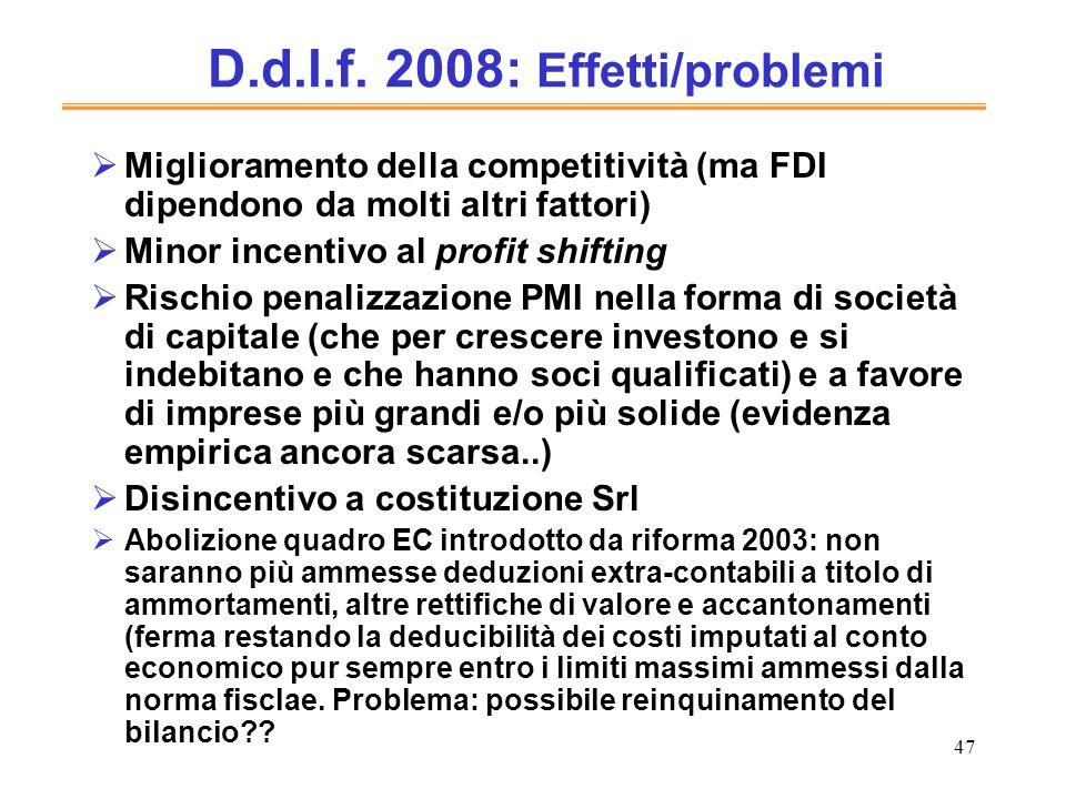 D.d.l.f. 2008: Effetti/problemi