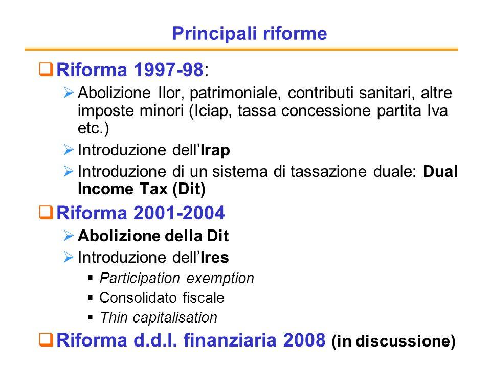 Riforma d.d.l. finanziaria 2008 (in discussione)