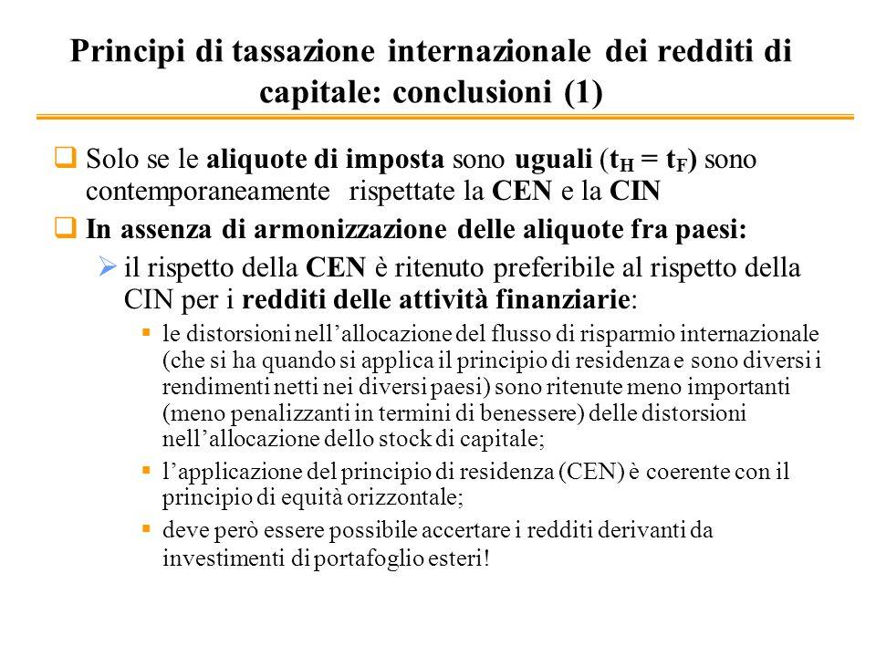Principi di tassazione internazionale dei redditi di capitale: conclusioni (1)