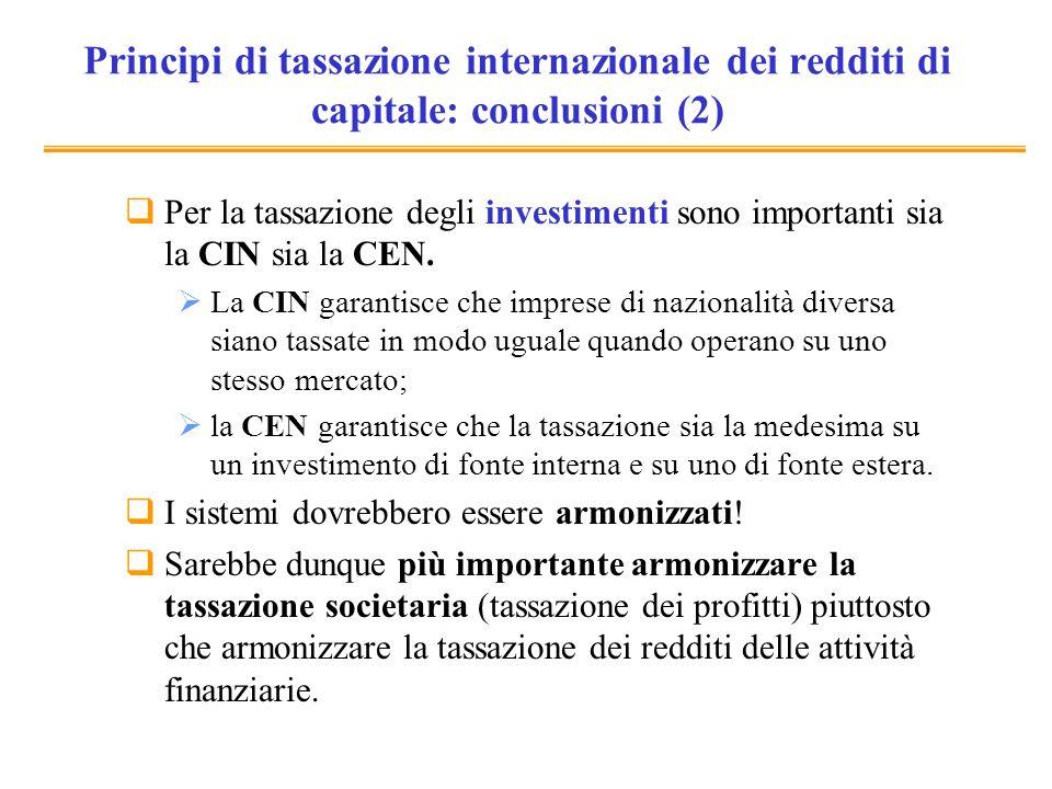 Principi di tassazione internazionale dei redditi di capitale: conclusioni (2)