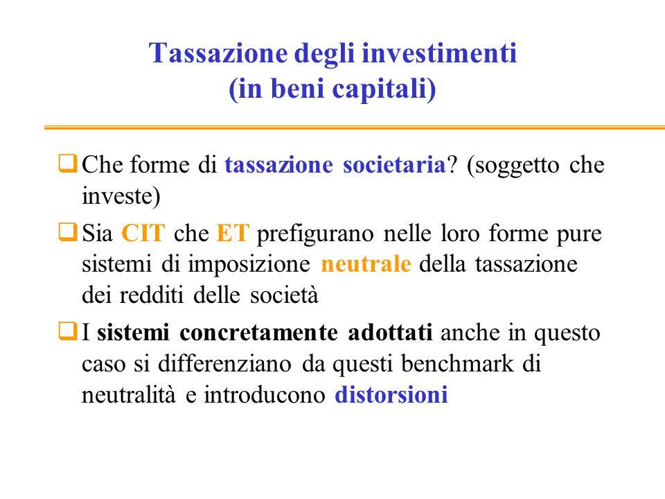 Tassazione degli investimenti (in beni capitali)
