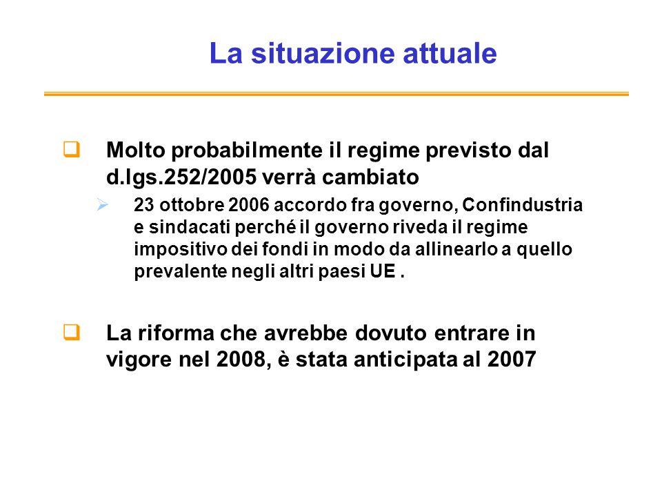 La situazione attuale Molto probabilmente il regime previsto dal d.lgs.252/2005 verrà cambiato.