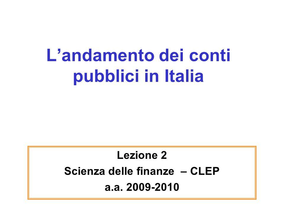 L'andamento dei conti pubblici in Italia