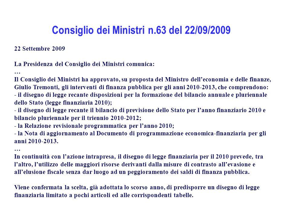 Consiglio dei Ministri n.63 del 22/09/2009