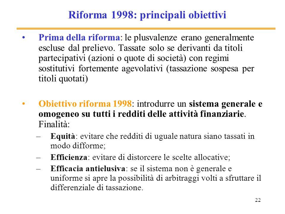 Riforma 1998: principali obiettivi
