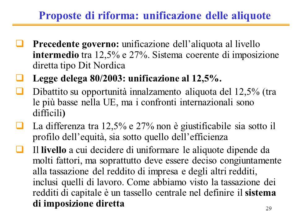 Proposte di riforma: unificazione delle aliquote
