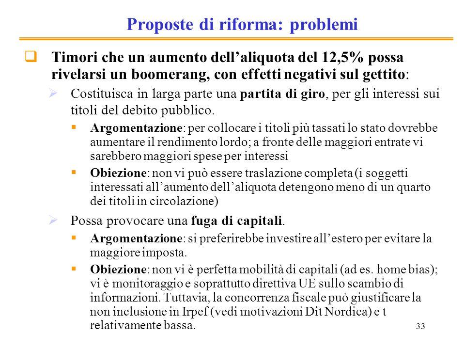 Proposte di riforma: problemi