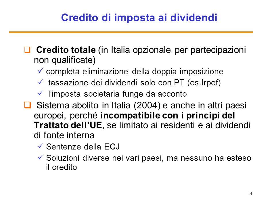 Credito di imposta ai dividendi