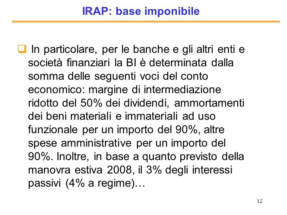 IRAP: base imponibile