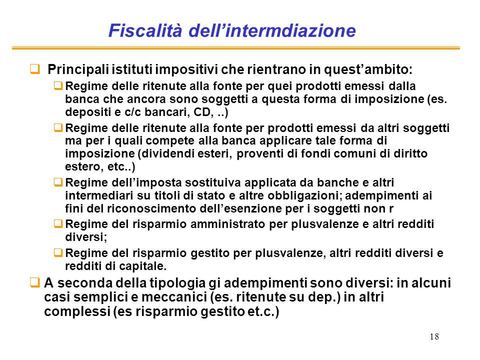 Fiscalità dell'intermdiazione
