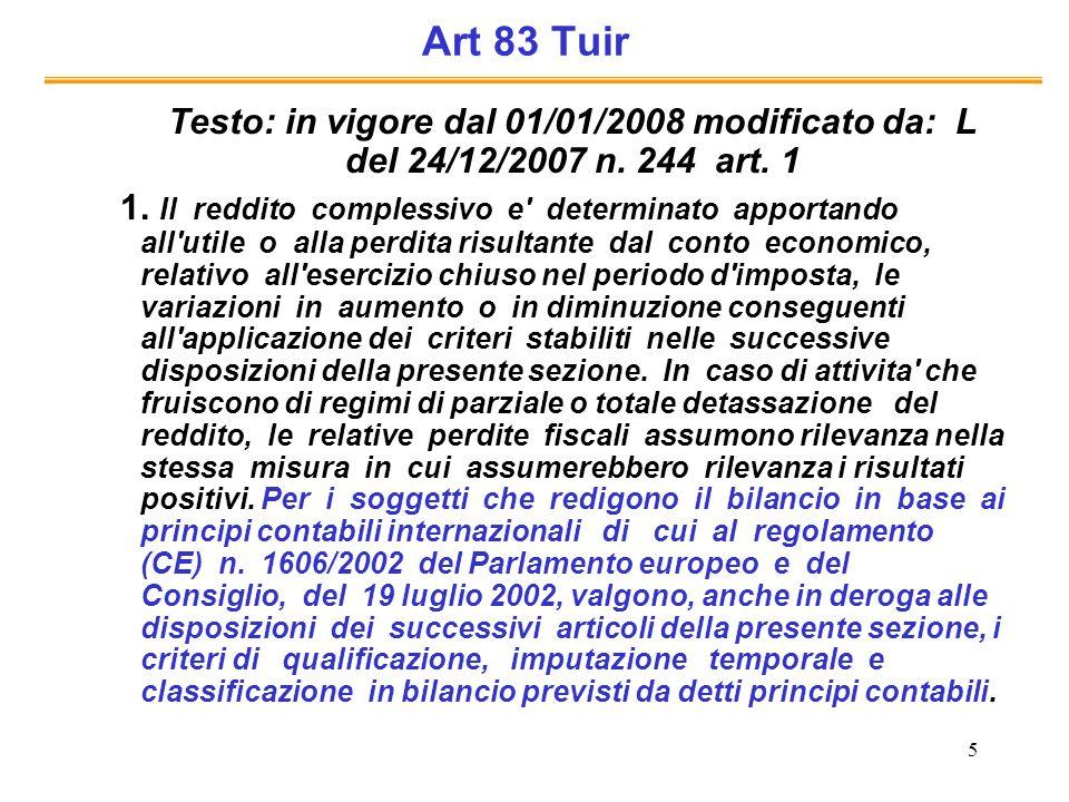 Art 83 Tuir Testo: in vigore dal 01/01/2008 modificato da: L del 24/12/2007 n. 244 art. 1.