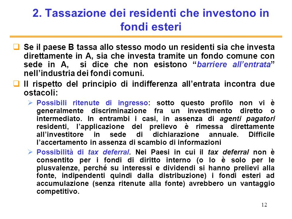 2. Tassazione dei residenti che investono in fondi esteri