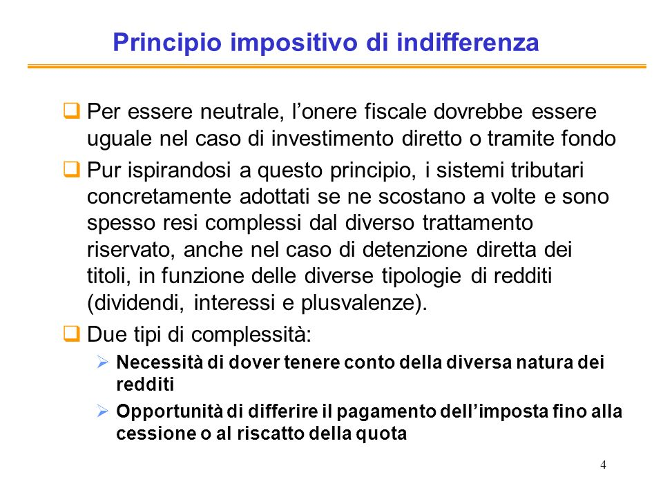 Principio impositivo di indifferenza