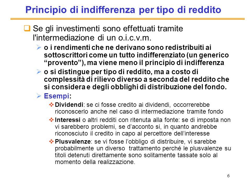 Principio di indifferenza per tipo di reddito