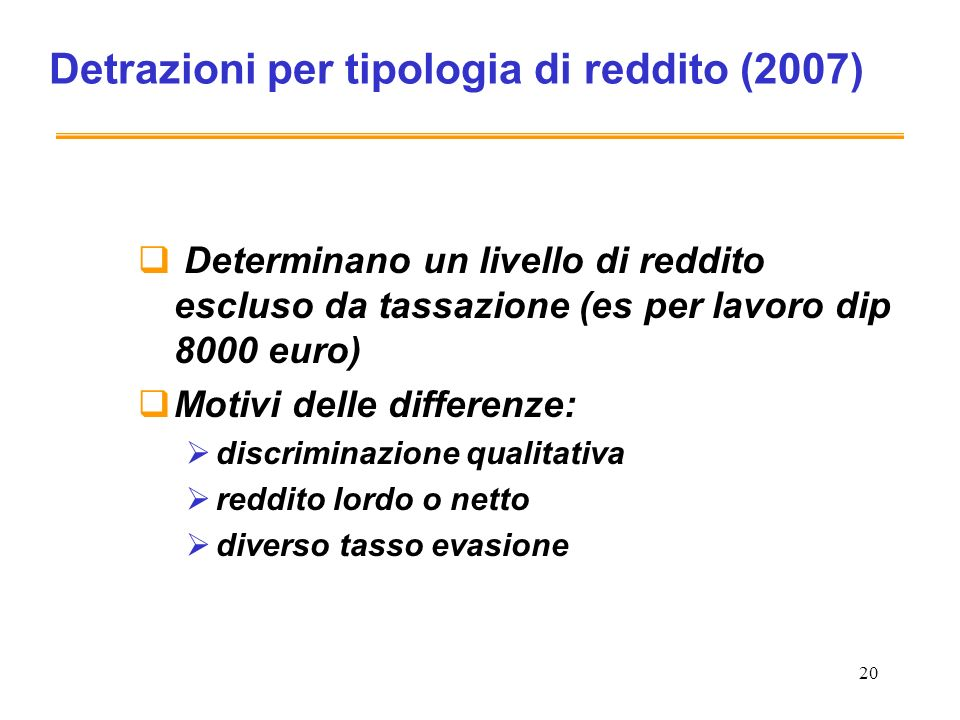 Detrazioni per tipologia di reddito (2007)