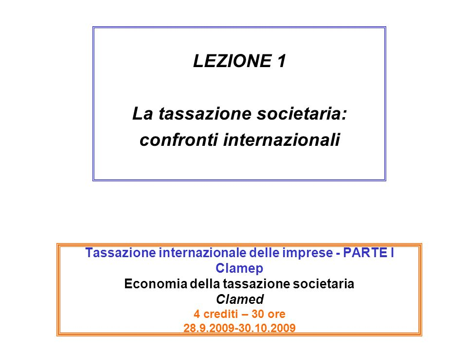 La tassazione societaria: confronti internazionali