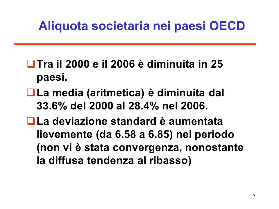 Aliquota societaria nei paesi OECD