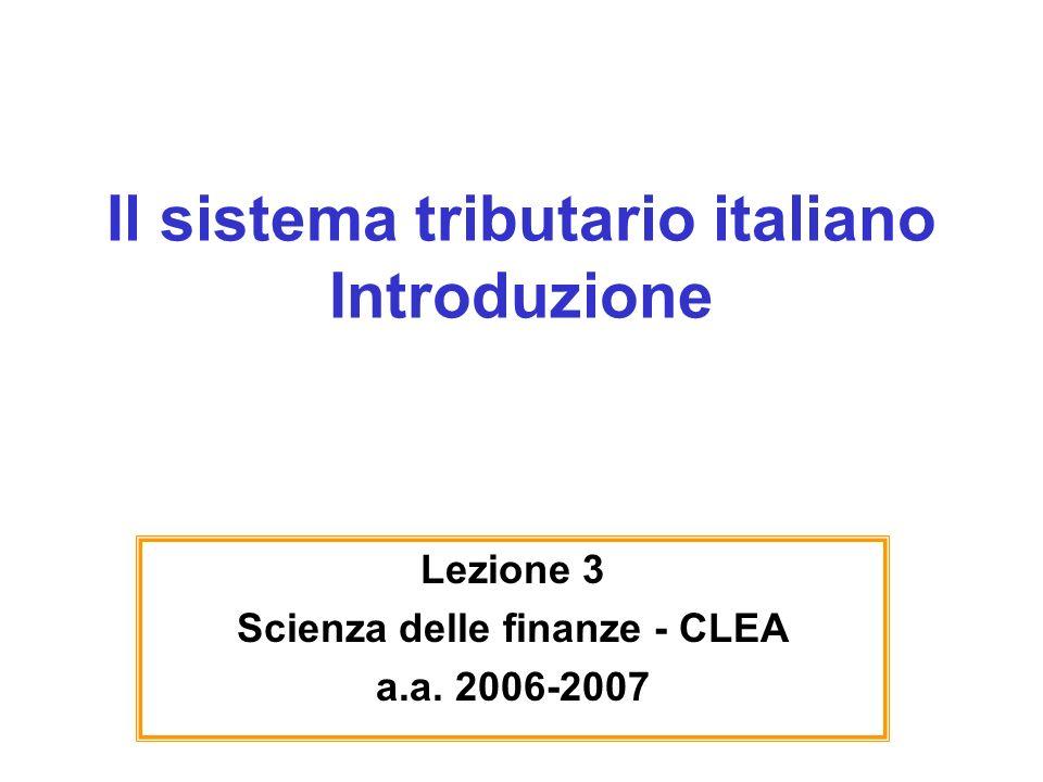 Il sistema tributario italiano Introduzione