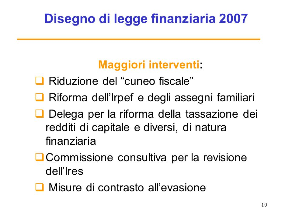 Disegno di legge finanziaria 2007