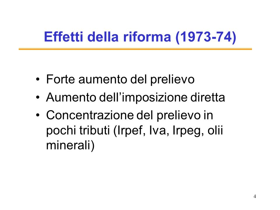 Effetti della riforma (1973-74)