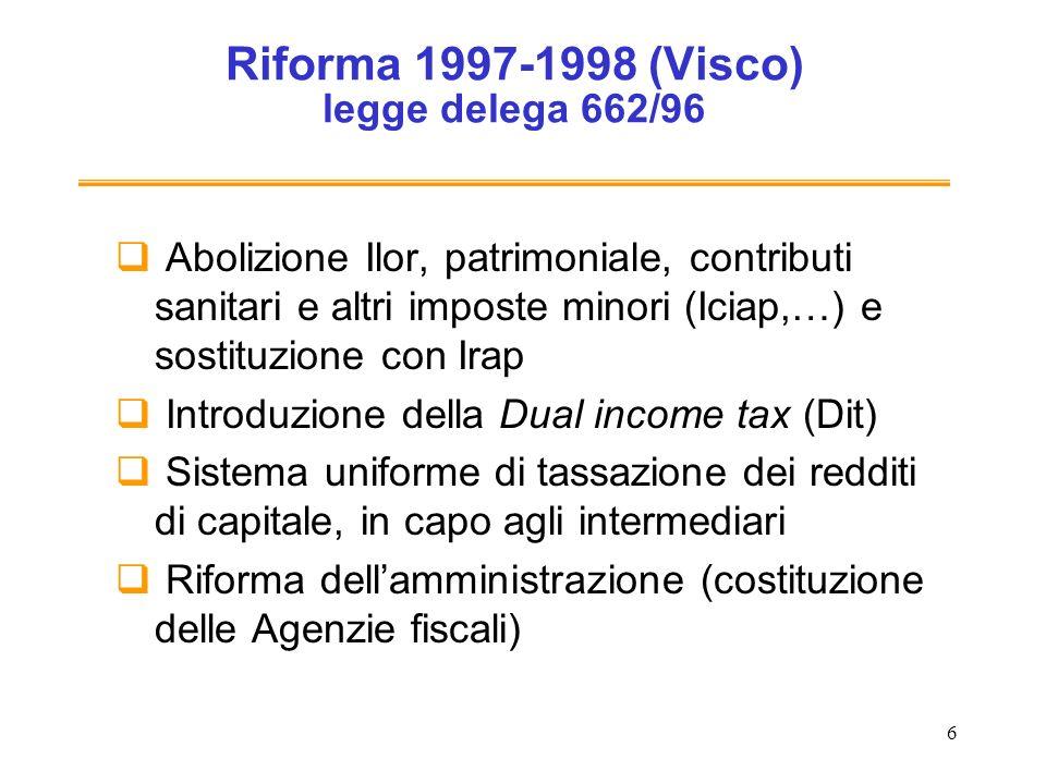 Riforma 1997-1998 (Visco) legge delega 662/96