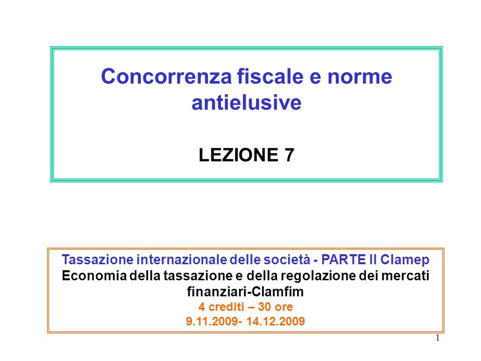 Concorrenza fiscale e norme antielusive LEZIONE 7