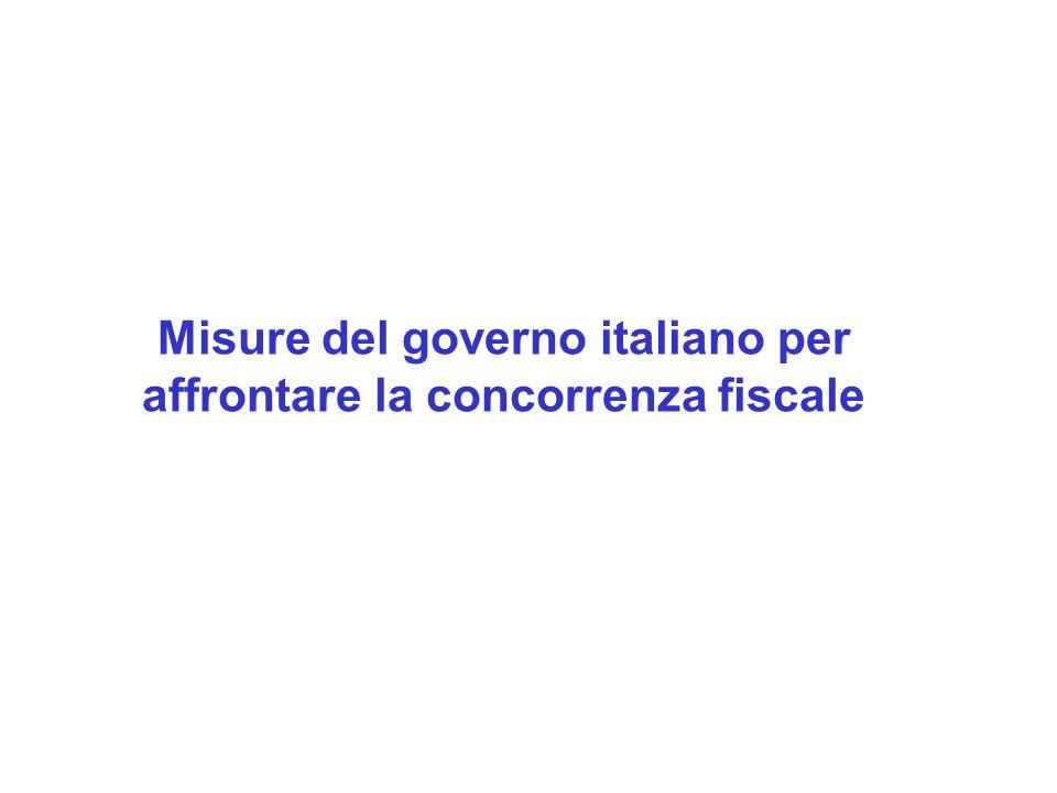 Misure del governo italiano per affrontare la concorrenza fiscale