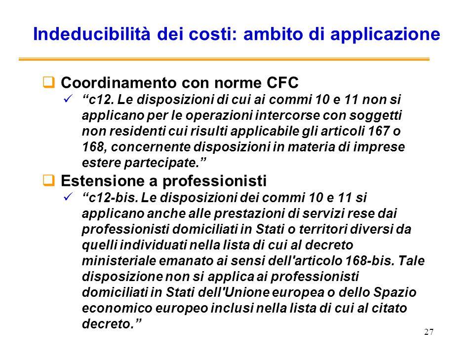 Indeducibilità dei costi: ambito di applicazione